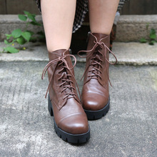 Autumn and Winter Genuine Leather Lace-up Martins Boots Retro British Style Ankle Boots Handmade Handsome Women Boots New 061-11