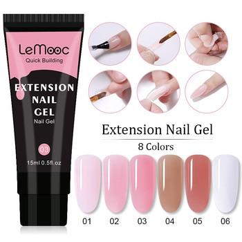 Lemooc Poly UV Gel For Nails Extensions Finger Nail Art Manicures Acrylic Gel Varnish Hybrid 15ML Poly UV Gel Nail Polish polygel kits nail gel finger extension gel varnishes nail art pink color uv gel nail polish french acrylic poly gel nails set