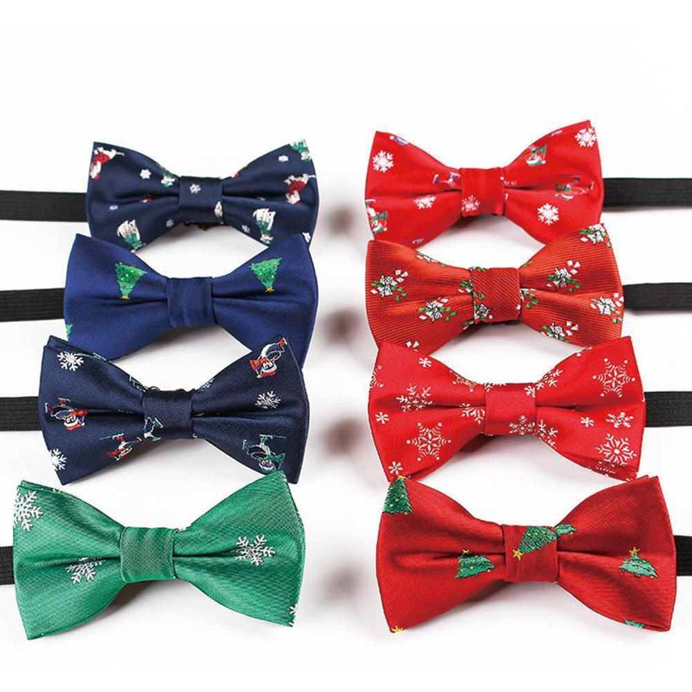 Christmas Bow Tie Fashion Kid's Black Red Bowtie For Festival Necktie Green Tree Santa Claus Snowflake Bow Ties