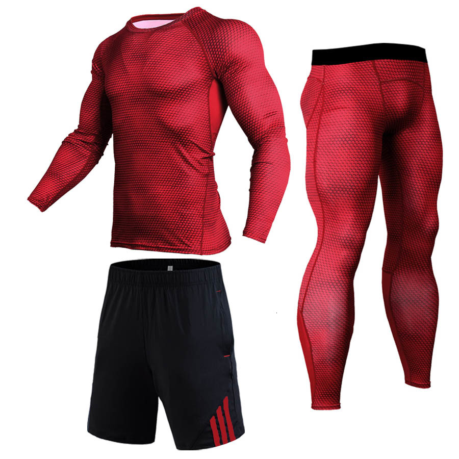 Brand 2019 Sportswear Sets Men Compression Set Joggers Quick Dry Trousers Fitness Crossfit Mens Leggings MMA Fashion T-Shirts