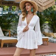 Женское плиссированные мини платья tosheiny белое сексуальное