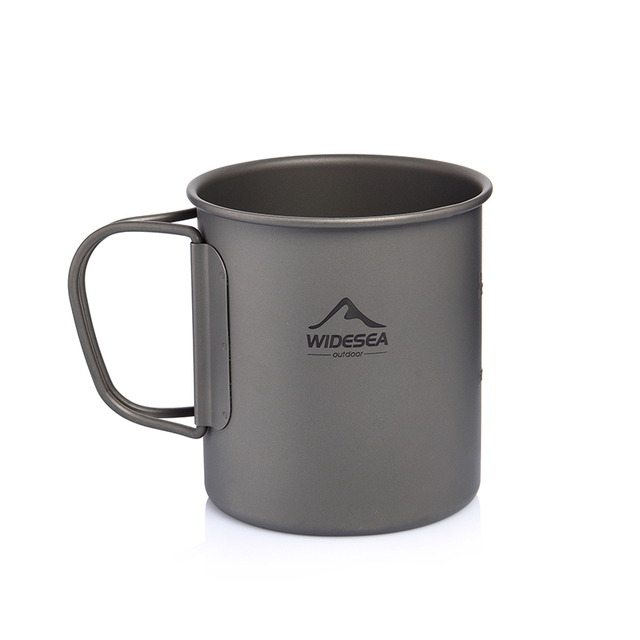 Widesea Camping Mug Titanium Cup Tourist Tableware Picnic Utensils Outdoor Kitchen Equipment Travel Cooking set Cookware Hiking 5