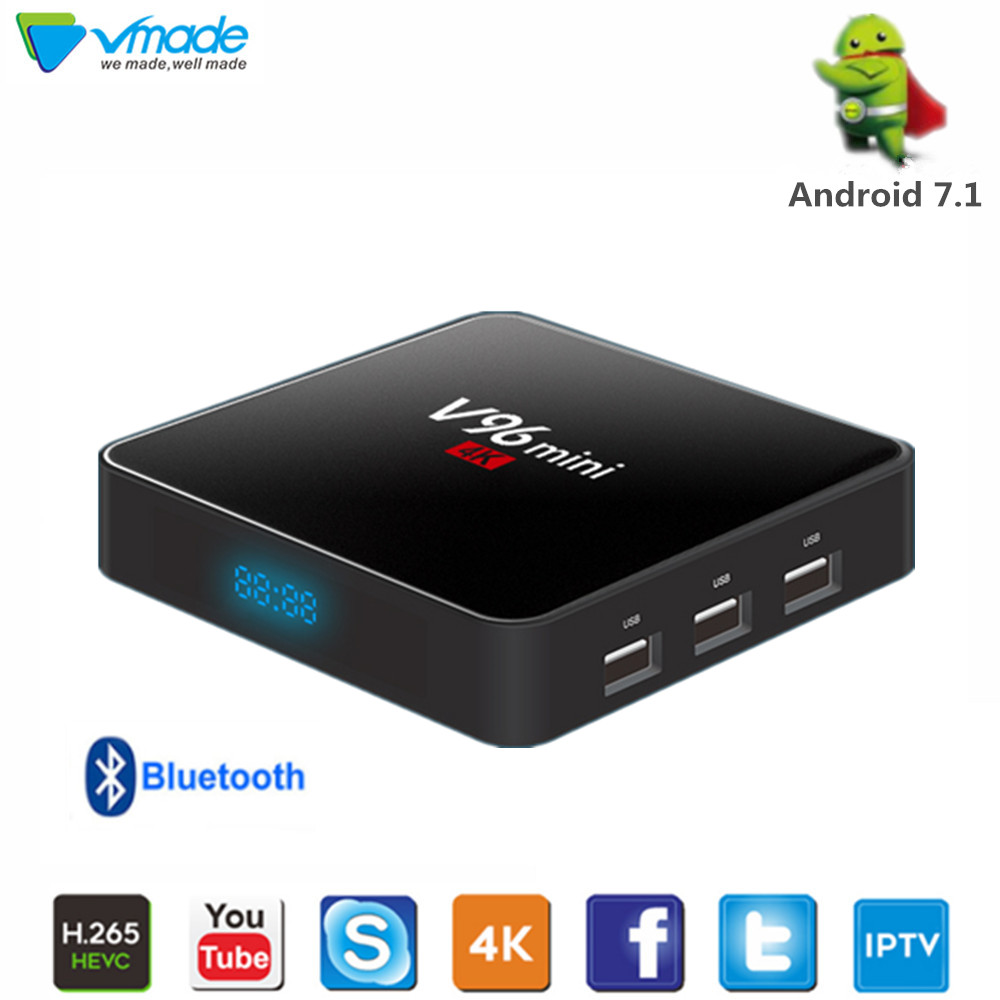 Nouveau V96 mini 7.1 Android TV Box Allwinner H3 2GB de RAM 16GB H.265 4K 1080P 2.4GHZ WIFI Google Netflix Youtube IPTV lecteur multimédia