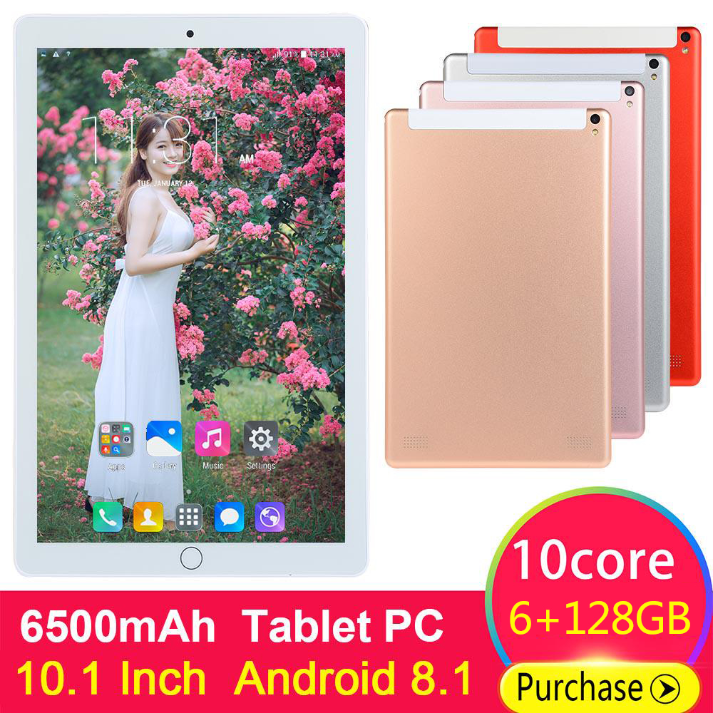 Free Shipping 6GB+128GB Tablet PC 10.1 Inch Android 8.0 Octa Core Dual SIM Card 4G LTE Smartphone FM WIFI Bluetooth 10 Tablets