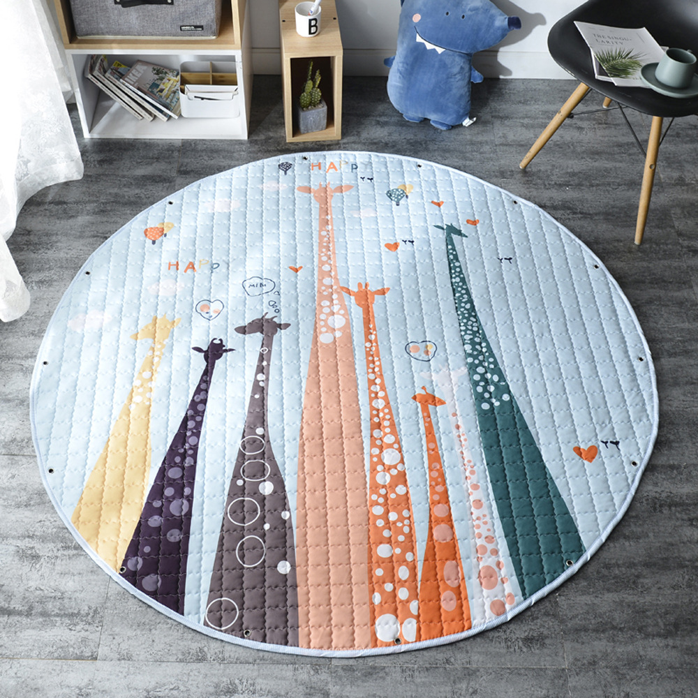 H23677bcd2dad434fae0a63e9a2202649T Kid Soft Carpet Rugs Cartoon Animals Fox Baby Play Mats Child Crawling Blanket Carpet Toys Storage Bag Kids Room Decoration