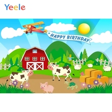 Yeele Balloon Farm Animal Lattice Grass Cloud Birthday Photography Background Customized Photographic Backdrops for Photo Studio