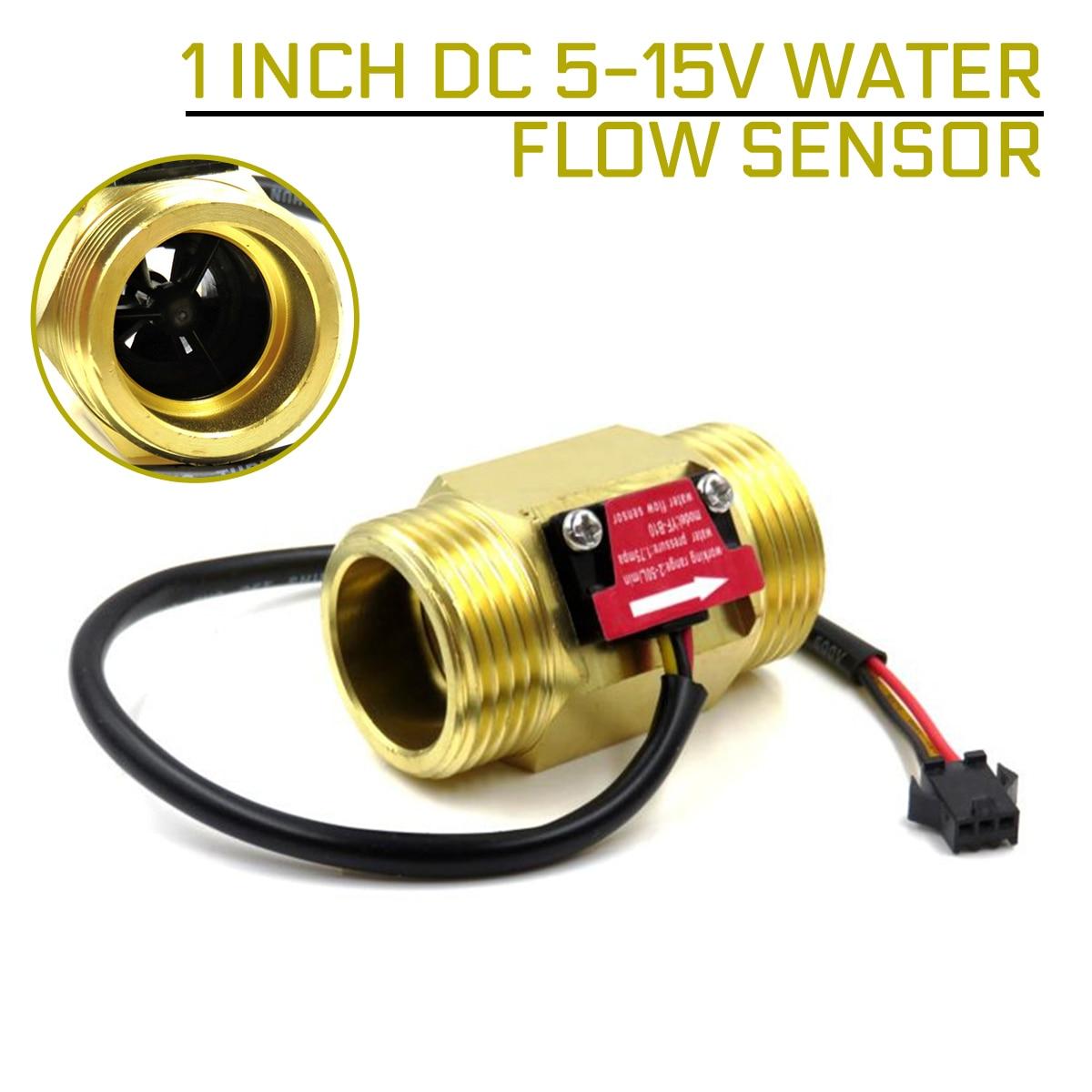 1 Inch DC 5-15V Water Flow Sensor Hall Sensor Switch Flow Meter Water Flow Sensor DN25 Brass Water Meter Industrial Flowmeter