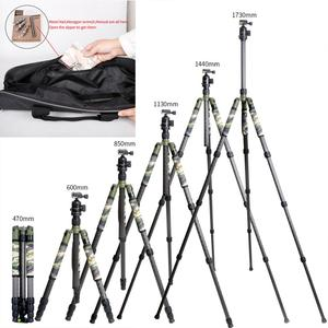 Image 5 - XILETU T284C+FB1 Professional Carbon Fiber Travel Tripod Green Camouflage Hidden Stand for DSLR Camera Outdoor Hunting Shooting