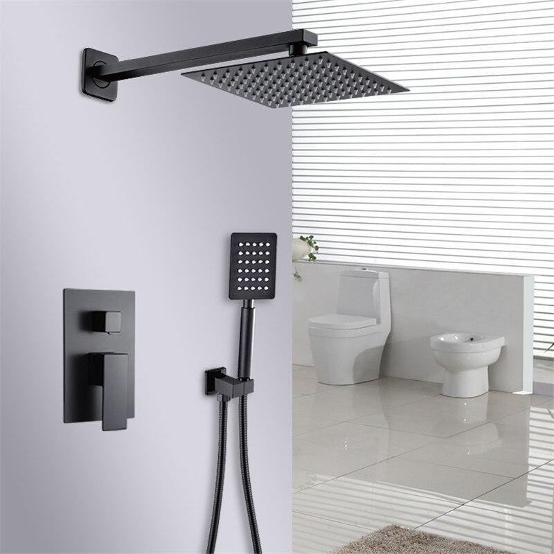 Bad Dusche Wasserhahn Set Schwarz In wand Regen Dusche Wasserhahn Wand oder Decke Wand Montiert Dusche Mixer 8-12