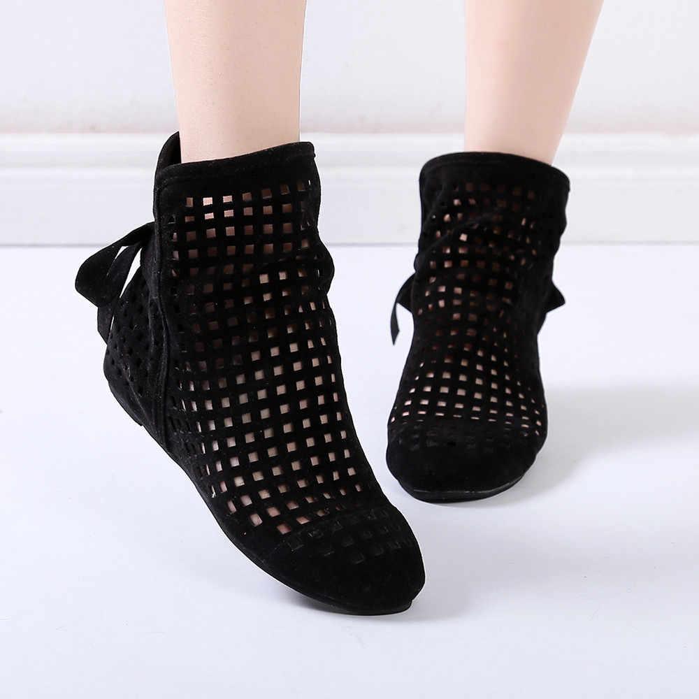 Kadın rahat içi boş botlar düz 2019 bayanlar seksi düşük gizli takozlar kesme botları rahat ayakkabılar sevimli patik kış günlük ayakkabı
