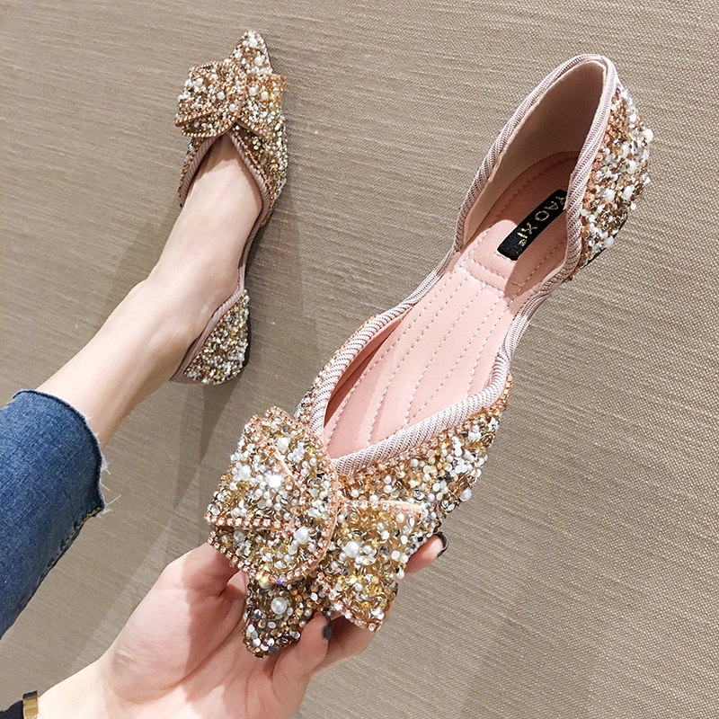 SLHJC Women Flats Pointed Toe Pearl Shoes Spring Summer Sandals Slip On Casual Sweet Knot Sequined Flat Heel Shallow Loafers