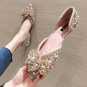 SLHJC Women Flats Pointed Toe Pearl Shoes Spring Summer Sandals Slip On Casual Sweet Knot Sequined Flat Heel Shallow Loafers(China)