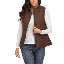 Women's Vests Winter Jacket Stand Collar Quilted Zip Up Down Cotton-padded Vest Lightweight Coats & Jackets Bh36(China)