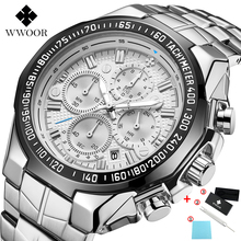 WWOOR New Luxury Brand Men's Watches Stainless Steel Strap Sports Water