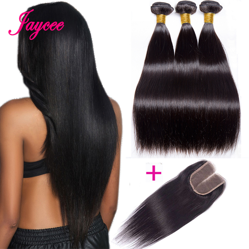 Jaycee Straight Hair Bundles With Closure Human Hair Bundles With Closure Brazillian Hair Weave Bundles Remy Hair Extension