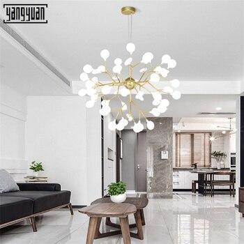 Modern LED Chandelier Light Stylish Firefly Tree Branch Chandeliers For Dining Living Room Bedroom Black & Golden Light Fixture
