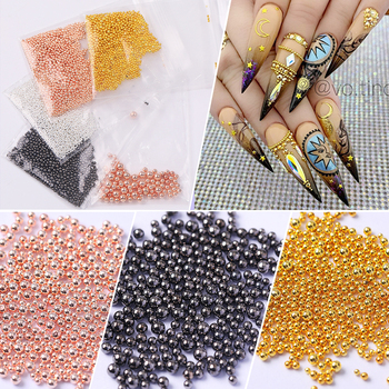 1 Bag Rose Gold Silver Nail Art Tiny 3D DesignMini Steel Caviar Beads Multi-size Round Balls Jewelry Manicures DIY Decoration image