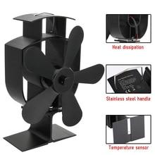 Черный 5 лопастей Тепловая плита вентилятор кастаньеты горелка Тихий Домашний экологический вентилятор черный камин вентилятор Тепловая эко эффективная плита надкаминный вентилятор