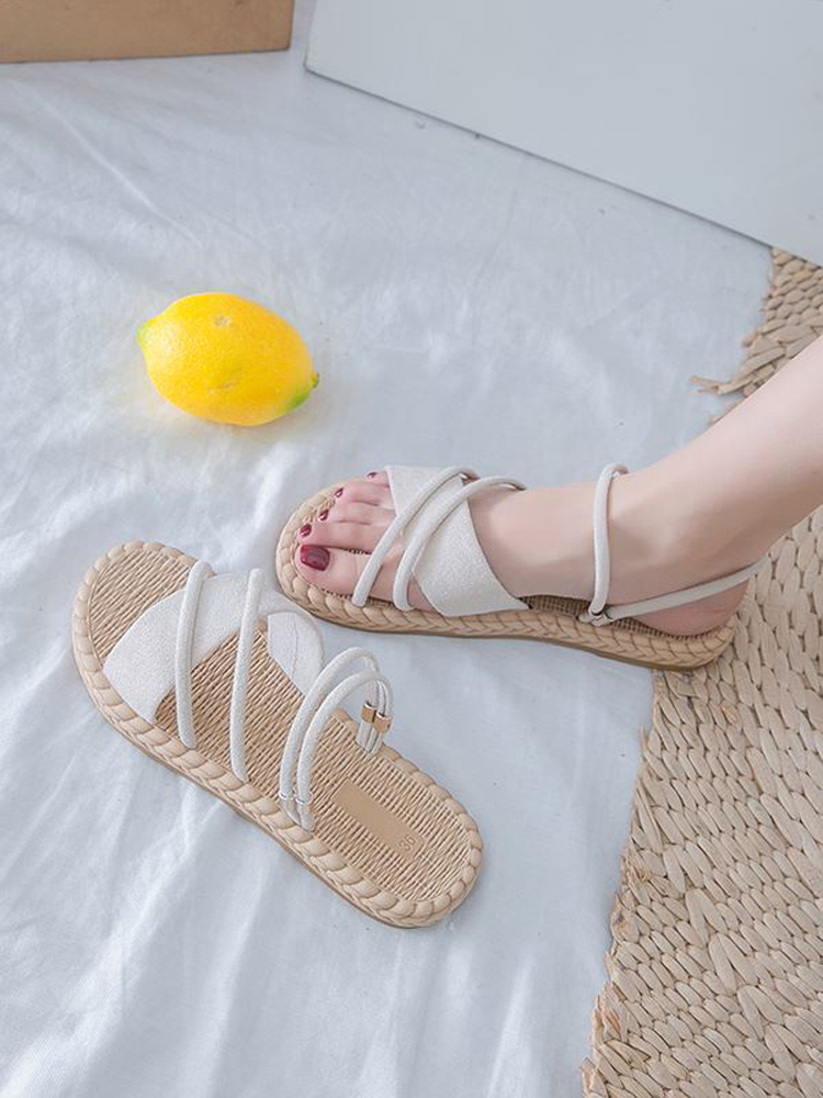 Beach Sandals Strips Flip-Flops Slides Summer Shoes Flat Gladiator Thin Mujer