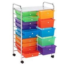 Многоцветные 15 выдвижных ящиков роликовый органайзер корзина