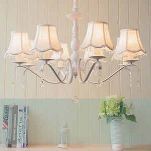 Image 5 - Nordic led kronleuchter mit stoff lampenschirm für wohnzimmer rosa decke kronleuchter beleuchtung moderne weiß anhänger lampe schlafzimmer