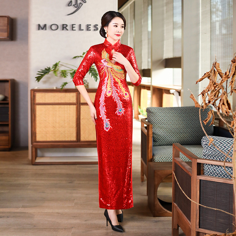 Phoenix Embroidery Sequin Decal Qipao Modern Chinese Wedding Banquet Evening Dress Women Long Silk Cheongsam Vestidos Size 5XL