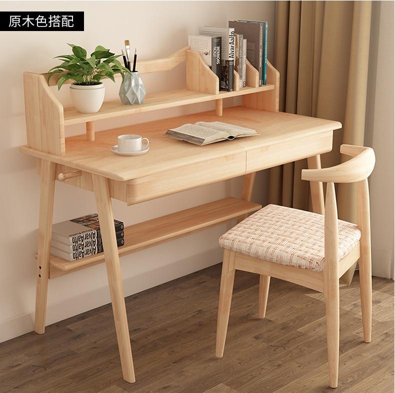 Northern European-Style Solid Wood Desktop Computer Desk Simple Japanese Style Office Desk Children Students Writing Desk Booksh