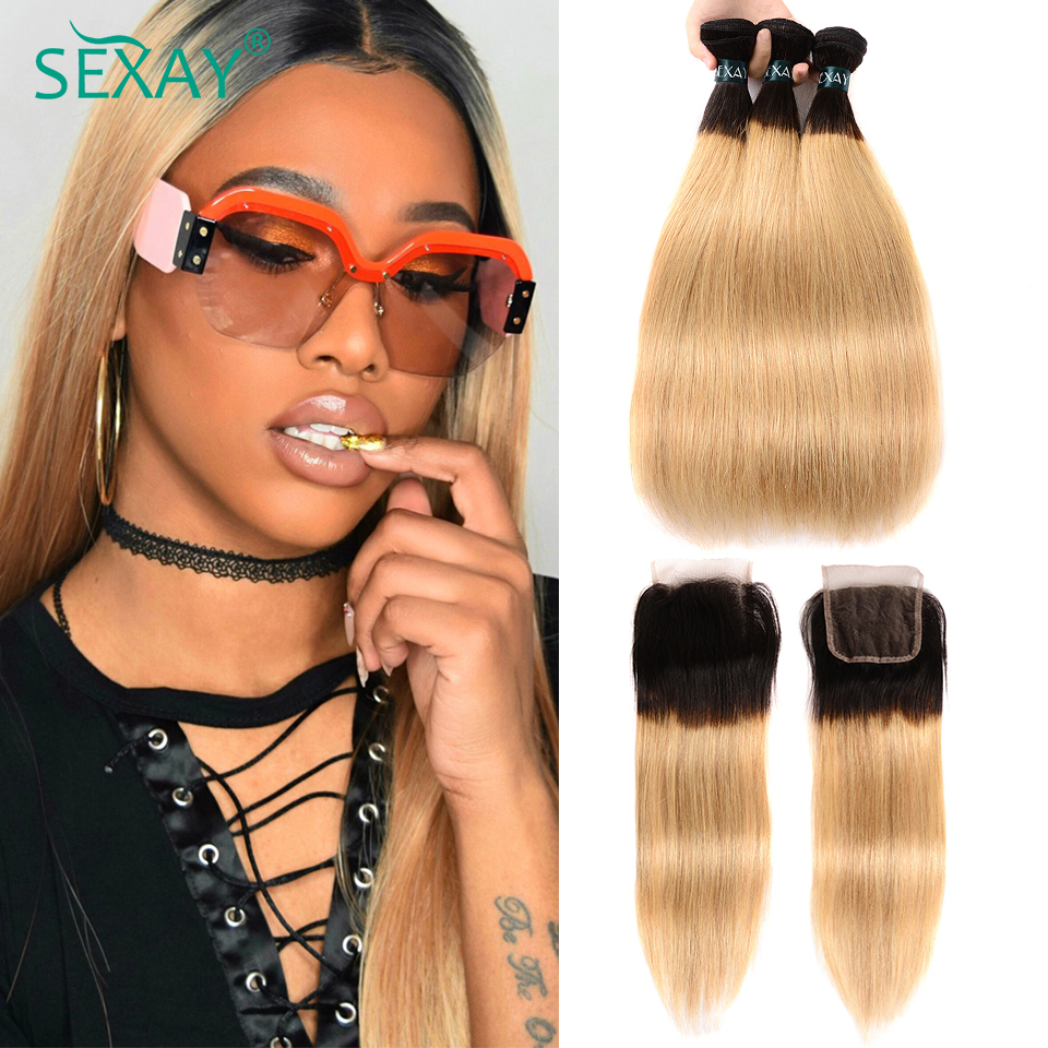 SEXAY Blonde Human Hair Bundles With Closure 3 Bundles With Lace Closure Dark Roots T1B/27 Ombre Blonde Peruvian Straight Hair