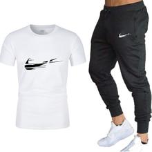 Men's Tracksuit Summer Clothes Sportswear Two Piece Set Men T Shirt Set Brand Track Clothing Men jogger Sweatsuit Sports Suits