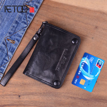 AETOO Original punk style handmade vertical retro wallet mens short leather youth folds lambskin old
