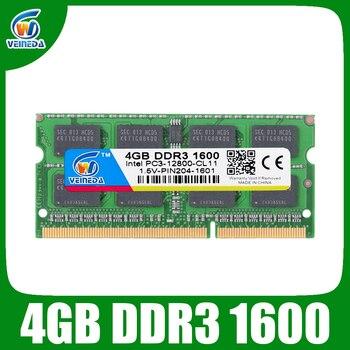 VEINEDA ram ddr3 4GB sodimm ddr3 1600 ram für Intel amd laptop 4gb ddr3 1333 204pin