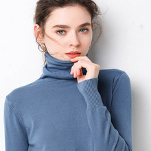 New Knitted Turtleneck Autumn Winter Sweater Women Match Basic Cashmere Blend Female Solid Collar Pullovers