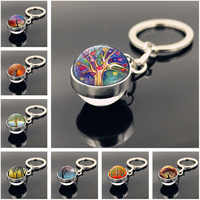Tree of Life Keychain Jewelry with Silver Color Double Side Glass Ball Keychain Life Tree Car Keychain Ring for Unisex