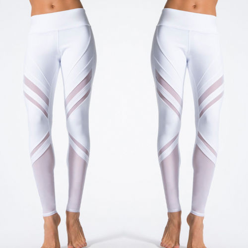 White Leggings Women High Waist Fitness Long Solid Stretch Mesh Patchwork Pants Trousers