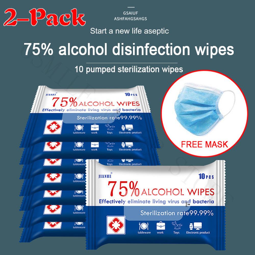 2Packs Remove 99.9% Virus 10sheets/Pack Portable 75% Alcohol Wet Wipes Antiseptic Cleaning Sterilization Wipes Wet Wipes 20sheet