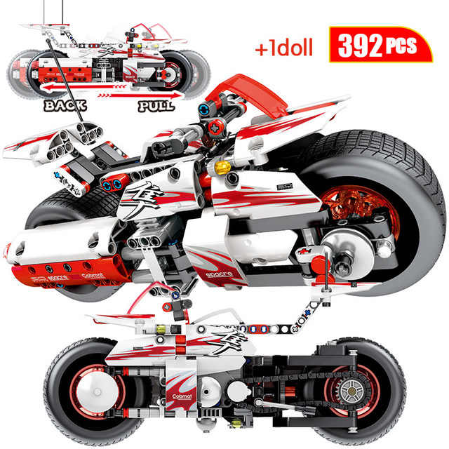 392pcs City Pull Back Moto Building Blocks  Technic Off-road Motorcycle Model Car Assemble Bricks Toys For Children