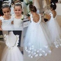 Real photo Lovely Flower Girl Dresses O Neck Tulle Floor Length Backless Kid Ball Gown Junior Bridesmaid Dress For Girls