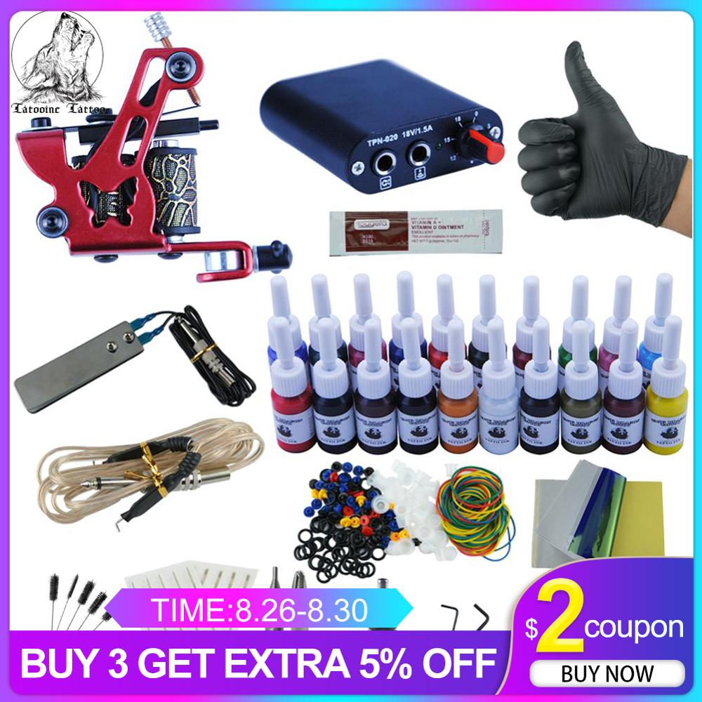 Machines-Grips Tattoo-Kit Power-Supply 8-Wrap 20-Colors-Inks Beginner-Accessories-Set