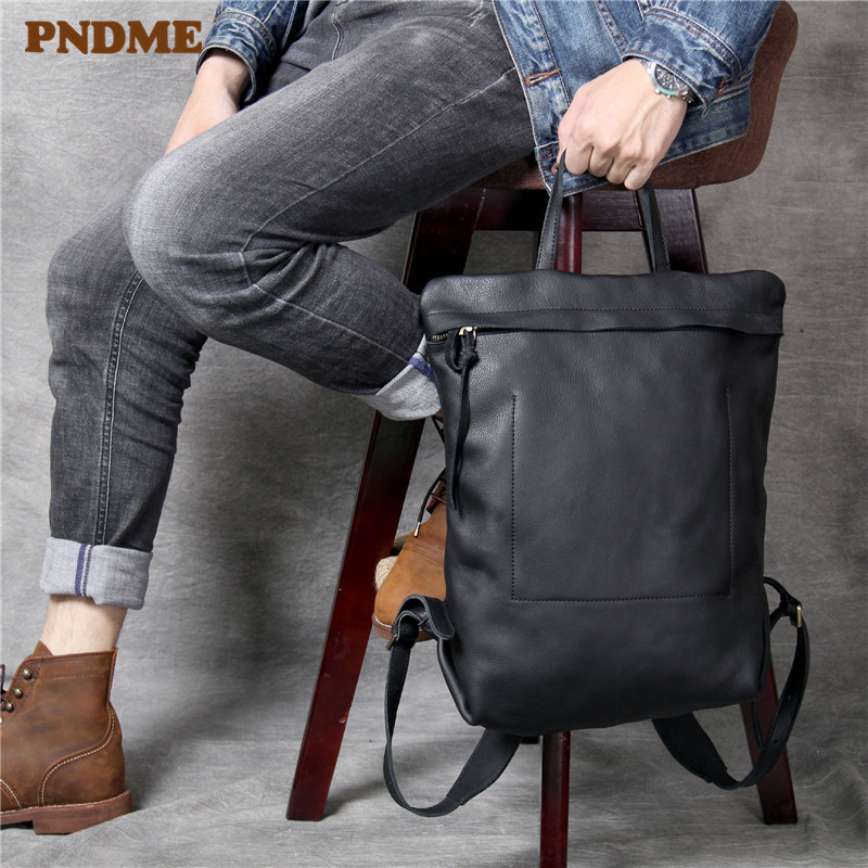 PNDME High Quality Fashion Cowhide Men's Women's Backpack Casual Simple Daily Light Genuine Leather Black Travel Laptop Bagpack