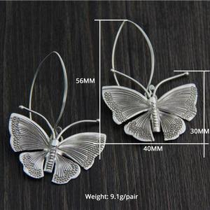 Image 3 - Echte Pure 100% 925 Sterling Zilver Overdreven Grote Vlinder Oorbellen Voor Vrouwen Handgemaakte Vintage Stijl