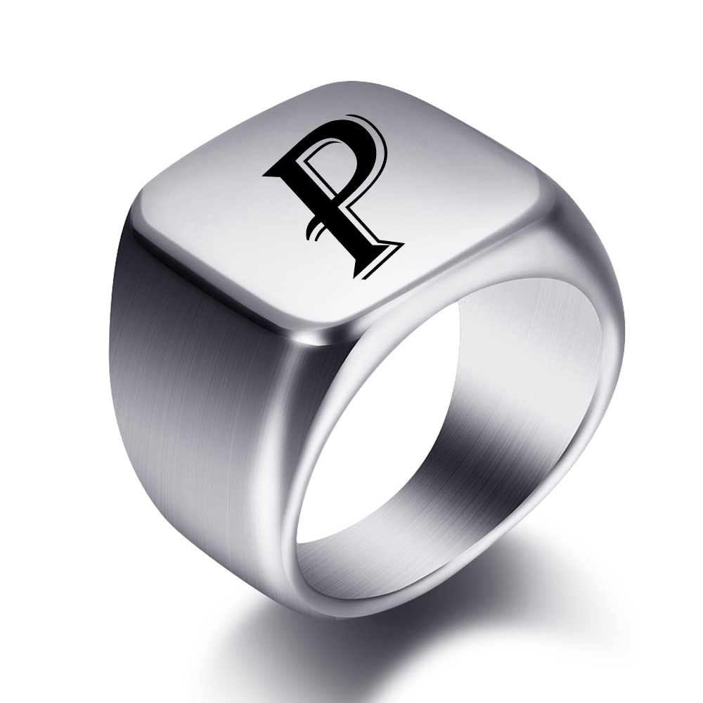Engraved Name Rings Stainless Steel Personalize Words Initials Letters Signet Ring For Men Women Wedding Gifts 6