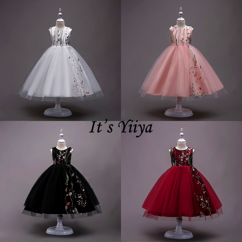 It's YiiYa Flower Girl Dresses 5 Colors Sleeveless Ball Gown Elegant O-Neck Floor Length Dresses Kids Party Pageant Dresses 825