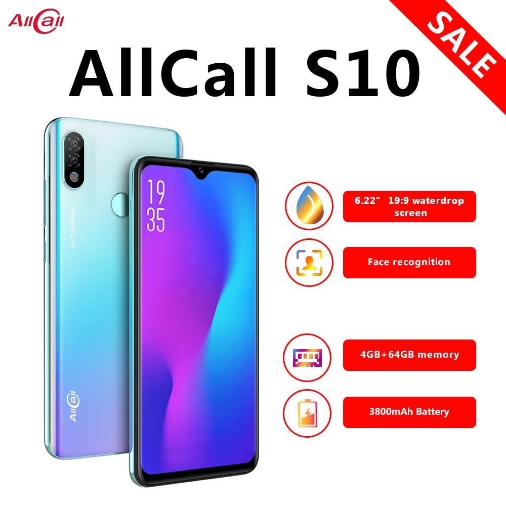 Global Version Allcall S10 Android 9.0 Octa Core 6.22' HD Plus+ Waterdrop 16MP+5MP Camera 3800mAh 4GB RAM 4G Celular Smartphone