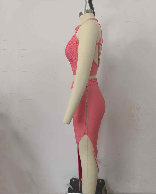 Najwyższa jakość dwa kawałki nit sukienka bandażowa ze sztucznego jedwabiu seksowna nocna impreza zestaw damski