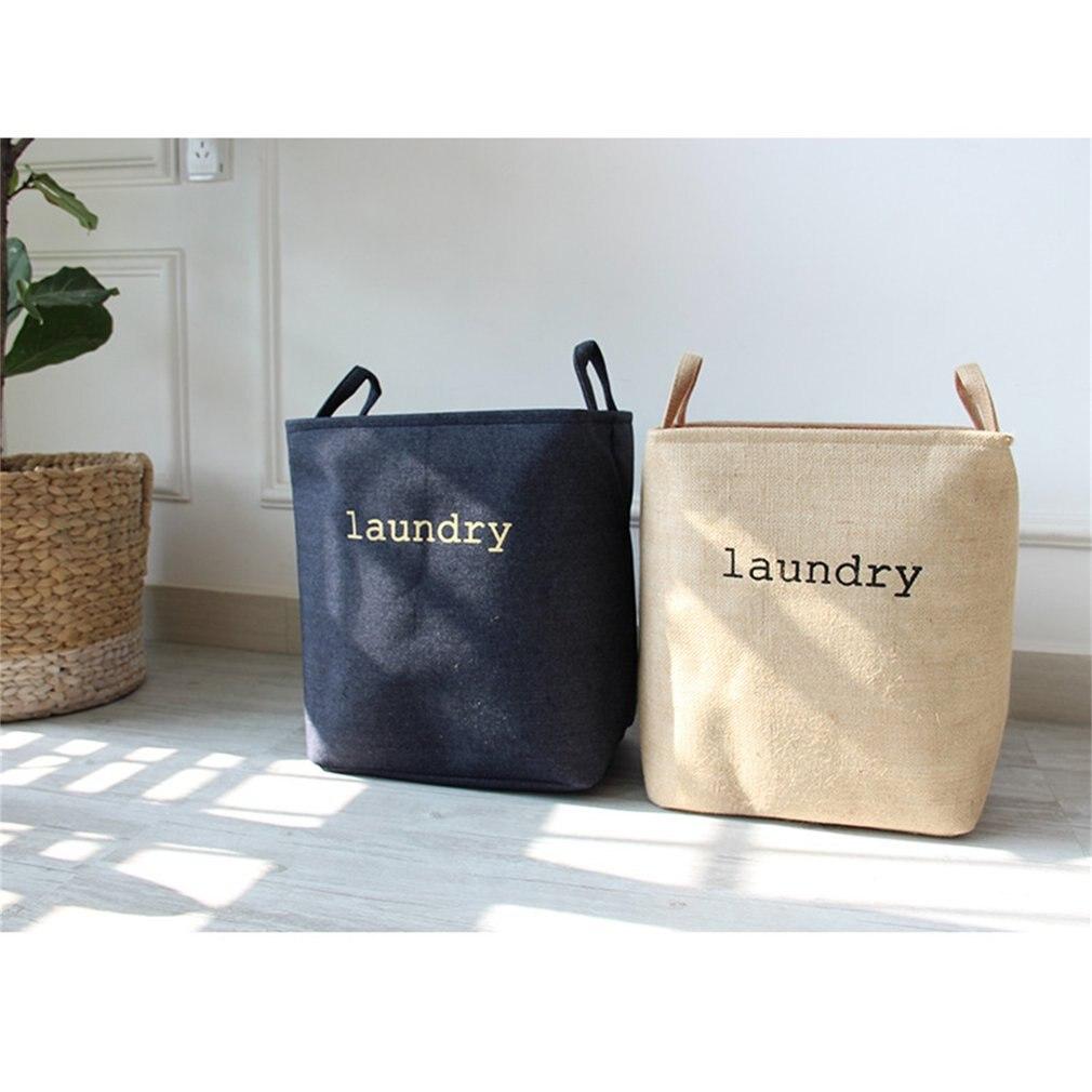 Millet Wheat Hamper Laundry Basket Denim Jute Dirty Clothes Frame Laundry Frame Folding Toy Fabric Cotton Linen Box