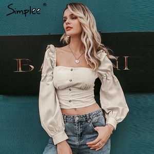 Image 1 - Simplee Ruffled off shoulder women crop tops Autumn elegant button lantern sleeve female tops Party wear ladies casual tops 2019