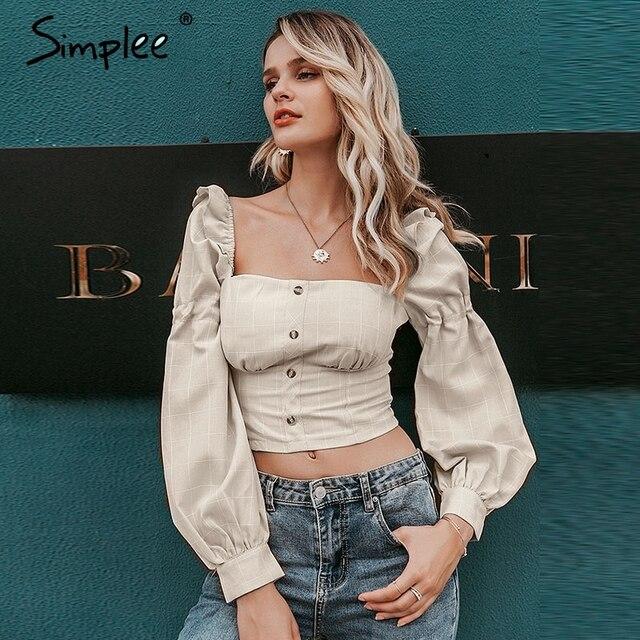 Simplee Ruffled off shoulder women crop tops Autumn elegant button lantern sleeve female tops Party wear ladies casual tops 2019