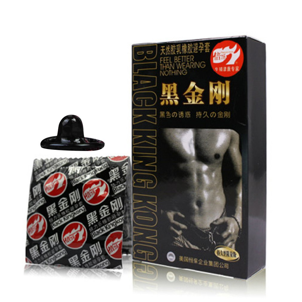 10PCS Black King Kong Male Condoms Sex Toys For Man Black Condoms Fun Set Adult Products Safer Contraception Sex Products