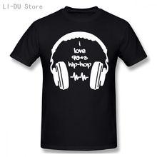 С надписью «i love 90 х хип хоп музыки футболка для мужчин с