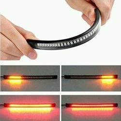 Flexible 48 LED Motorcycle Light Bar Strip Tail Turn Signal Tail Rear Brake Stop Bulb Lamp Brake Light 2835 3014 SMD Dual Color
